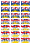 British Columbia Flag Stickers - 21 per sheet